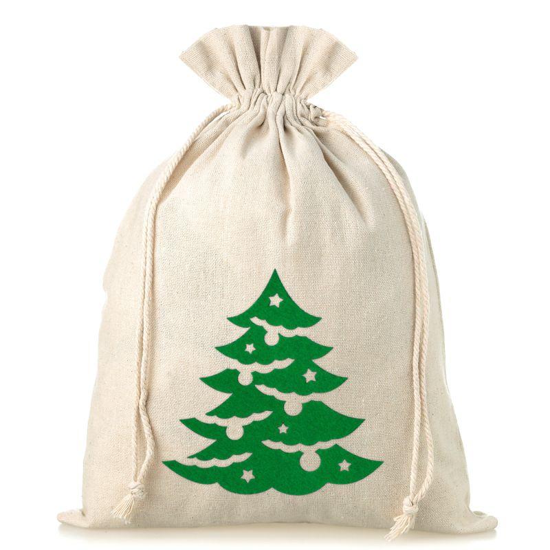 1 St. Leinensäckchen 26 x 35 cm - Weihnachten - Tannenbaum