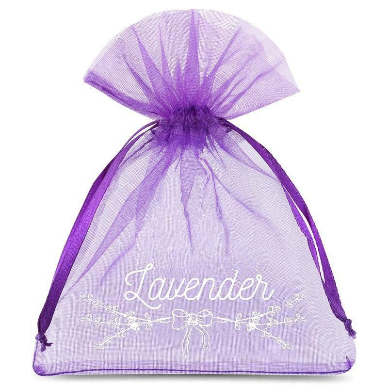 10 St. Organzabeutel 9 x 12 cm - dunkelviolett mit Druck (Lavendel) 2
