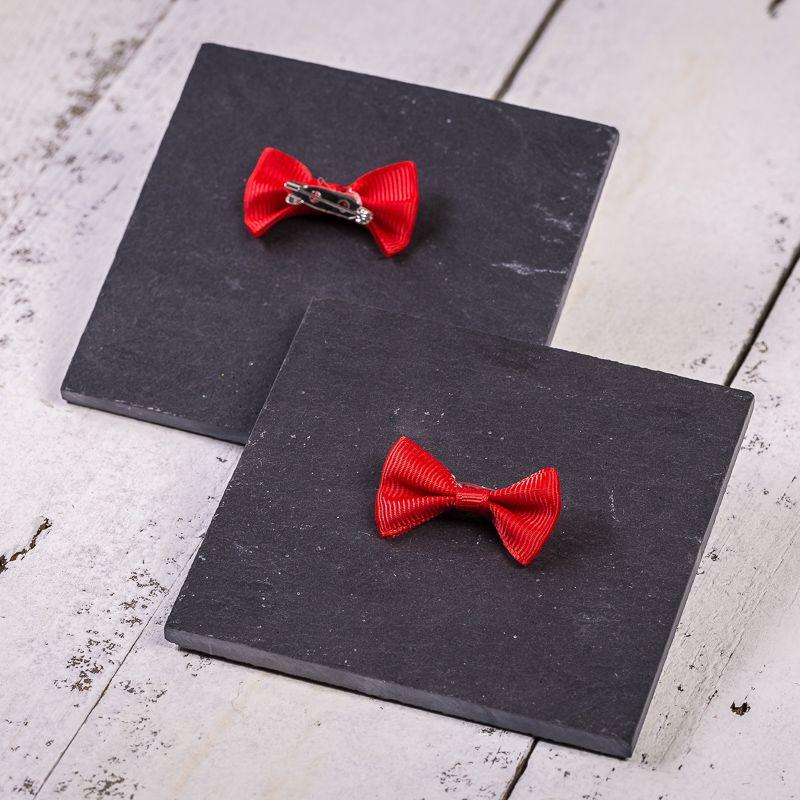 10 Stk. Schleifen aus Stoff 4 x 2 cm - rot