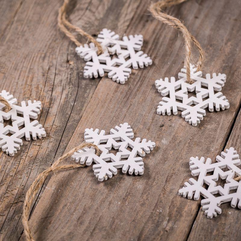 Weiße Ziersterne - klein 4,5 x 5,5 cm, 5 Stk. im Set