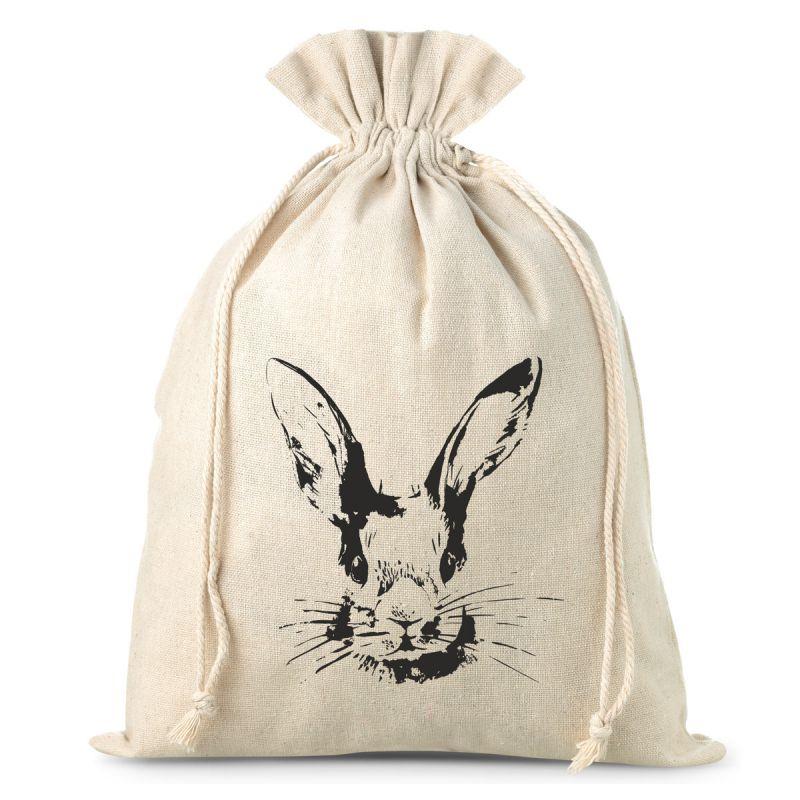 1 Stk. Leinensäckchen 26 x 35 cm mit Aufdruck - Kaninchen