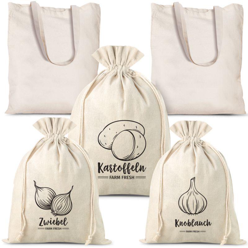 Set bestehend aus Säckchen für Gemüse aus Leinen (3 Stk.) und Einkaufstaschen aus Baumwolle (2 Stk.)