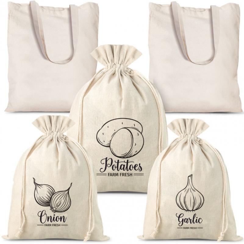 5 stk. Leinensäckchen für gemüse (3 stk.) und einkaufstaschen aus baumwolle (2 stk.).)
