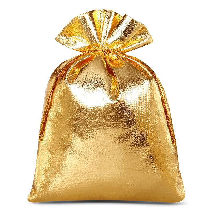 10 St. Metallic Säckchen 12 x 15 cm - gold