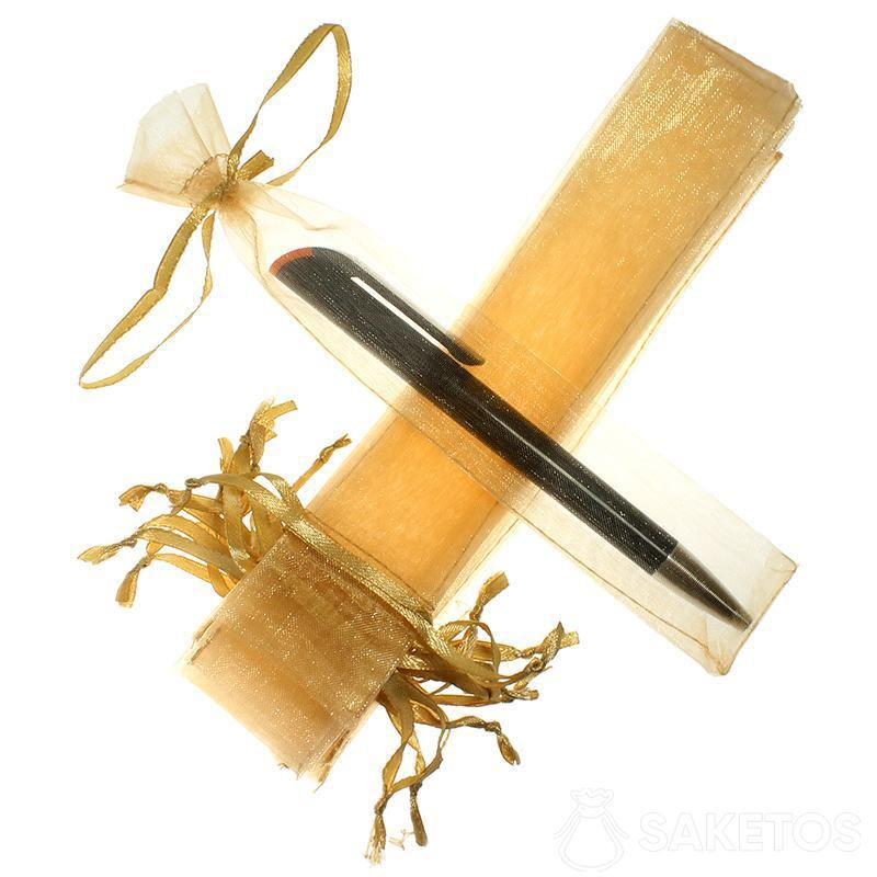 Beutel für einen Kugelschreiber aus goldenem Organza.