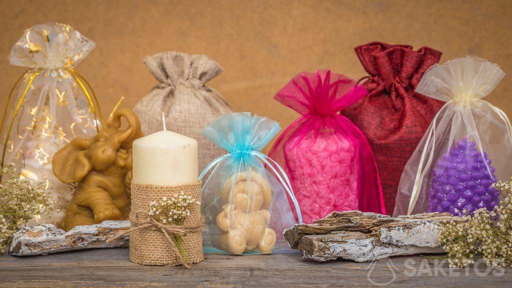 Die Beutel passen perfekt zu den handgemachten Kerzen