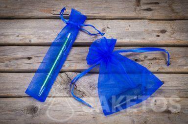 1. Blaue Organzabeutel als Verpackung für Werbeartikel