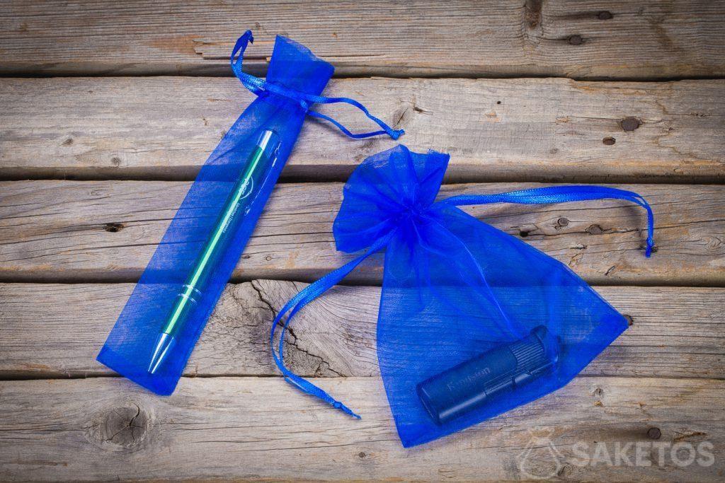 1.Blaue Organzabeutel als Verpackung für Werbeartikel