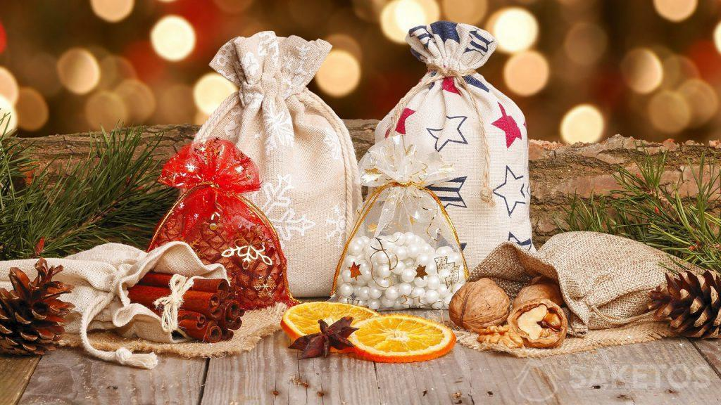 1.Festliche Stoffbeutel für Nikolaus- und Weihnachtsgeschenke