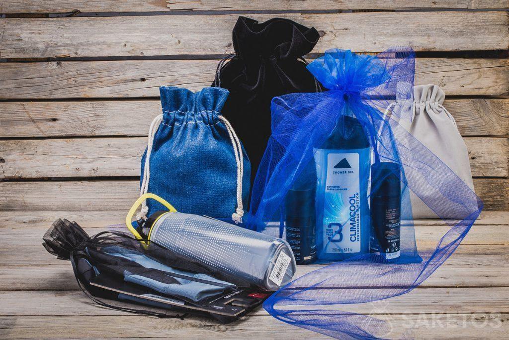 Kosmetik, Sportartikel - Geschenke für Männer in stilvollen Stofftaschen