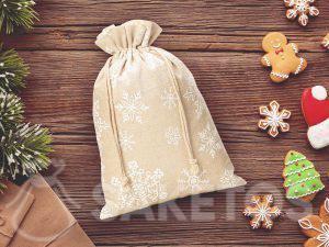 Leinenbeutel zu Weihnachten mit Schneeflockendruck
